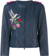Emporio Armani embroidered fitted jacket - women - Goat Skin/Polyester/Viscose - 44