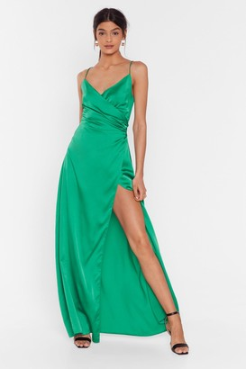 Nasty Gal Womens When the Moon's Out Satin Maxi Dress - Green - 4