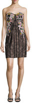 Marchesa Strapless Floral-Embroidered Lace Corseted Dress, Black