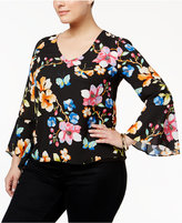 INC International Concepts Printed Bell-Sleeve Top, Only at Macy's