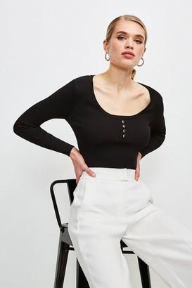 Karen Millen Knitted Rib Rivet Front Long Sleeve Top