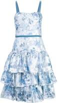 Marchesa Flared Floral Dress