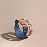 Burberry Floral Print Haymarket Check Wrap Bracelet