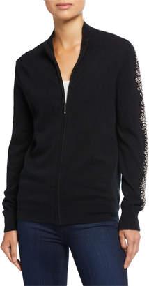 Neiman Marcus Embellished Cashmere Zip-Front Bomber Jacket