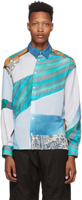 Ahluwalia Blue Silk Patchwork Shirt