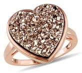 Catherine Malandrino Heart Shape Rose Druzy Gemstone Cocktail Ring.