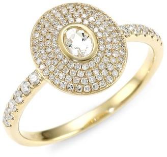 Ef Collection 14K Yellow Gold, White Quartz & Diamond Ring