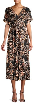 Bobeau Palm Leaf-Print Midi Dress
