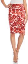Samantha Sung Red Paisley Pencil Skirt