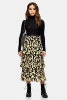 Topshop Petite Multi Daisy Floral Tiered Pleated Midi Skirt