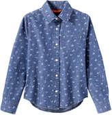 Joe Fresh Kid Girls' Print Chambray Shirt, Medium Wash (Size XL)