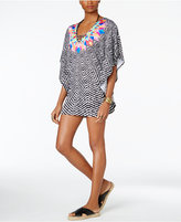 Bar III Feather Daze Printed Caftan Tunic, Only at Macy's