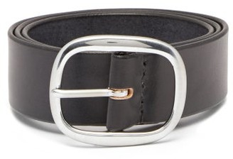 Maximum Henry Wide-buckle Leather Belt - Black
