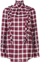 No.21 checked blouse with stones