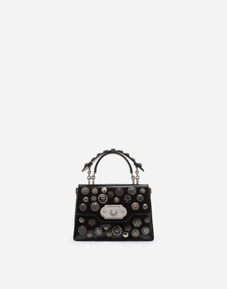 Dolce & Gabbana Medium Polished Calfskin Welcome Bag With Bejeweled Appliques
