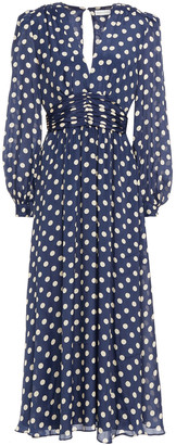 Ronny Kobo Ruched Polka-dot Satin Midi Dress