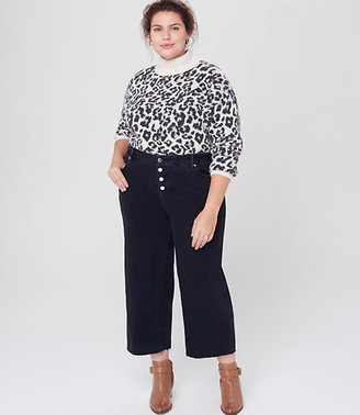 LOFT Plus High Rise Wide Leg Crop Jeans in Washed Black Wash