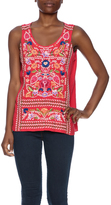 Johnny Was Embroidered Linen Tank