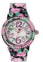 Betsey Johnson Rose-Print Analog Bracelet Watch