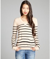 Yoon tan and graphite striped wool blend v-neck sweater