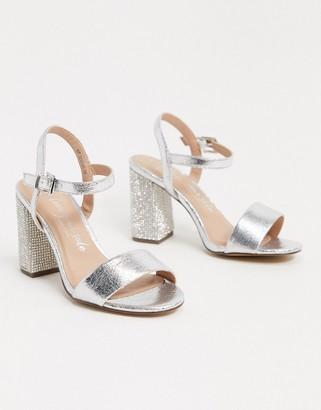 New Look metallic heeled sandals in silver