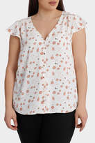 Braid Insert Button Thru Blouse Print