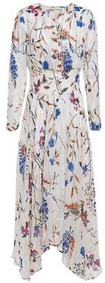 Maje Shirred Metallic Floral-print Fil Coupe Midi Dress