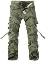Feoya Men's Outdoor Casual Cotton Overalls Military Cargo Combat Work Trousers