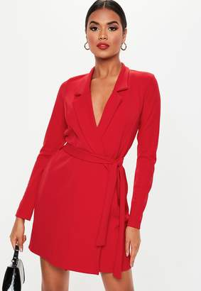 Missguided Red Long Sleeve Slim Fit Jersey Belted Wrap Dress
