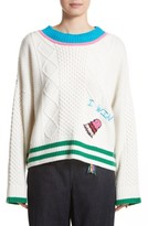 Mira Mikati Women's Monster Embroidered Cable Knit Sweater