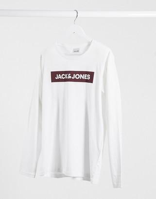 Jack and Jones Originals chest logo long sleeve top-White