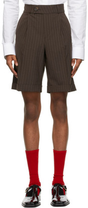 Ernest W. Baker Brown Pinstripe Tailored Shorts