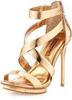 BCBGMAXAZRIA Lemour Cross-Strap Sandal, Gold Dust