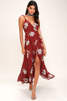 LuLu*s All Mine Wine Red Floral Print High-Low Wrap Dress