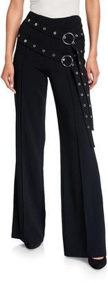 Cinq à Sept Jessi Long Flare Pants with Double Belt Detail