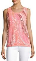 Berek Wavy Sequined-Front Shell, Coral, Petite