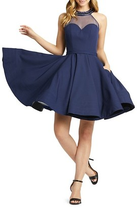 Mac Duggal Halterneck Fit-&-Flare Dress