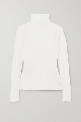Herve Leger Tulle Turtleneck Top - White
