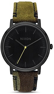 Nixon Porter Olive and Brown Leather Watch, 40mm