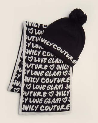 Juicy Couture 2-Piece Black & White Graffiti Beanie & Scarf Set