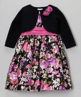 Jayne Copeland Pink Floral Shantung Dress & Black Bolero - Toddler & Girls