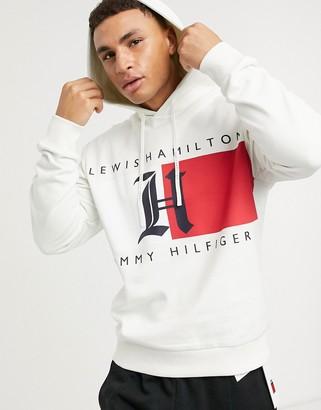 Tommy Hilfiger x Lewis Hamilton fleece logo hoodie in white