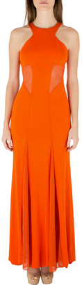Cushnie Tangerine Orange Stretch Satin Jersey Mesh Paneled Gown S