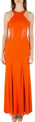 Cushnie Tangerine Orange Stretch Satin Jersey Mesh Paneled Gown S