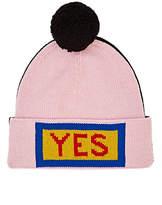 """Fendi Men's """"Yes"""" Pom-Pom-Embellished Wool Beanie"""