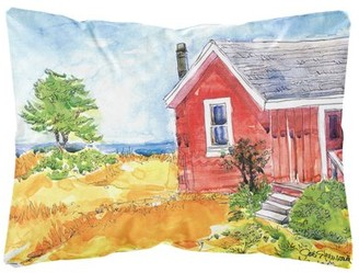 Caroline's Treasures Old Red Cottage House at the lake or Beach Decorative Canvas Fabric Pillow