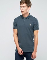 Paul Smith PS by Polo Shirt With Zebra Logo In Slim Fit Gray