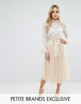 John Zack Petite Pleated Tulle Midi Skirt Co-Ord