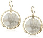 "Robert Lee Morris Neutral Territory"" Horn Disc Orbital Drop Earrings"