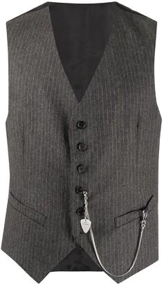 John Richmond Pinstripe Tailored Waistcoat